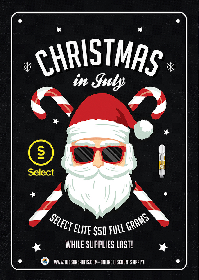 Select Cannabis Cartridges Christmas in July flyer