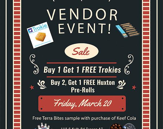 Trokies vendor event suzy tracy marketing cannabis flyer